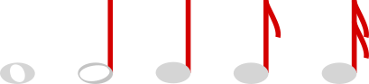 Music notes with the stems and flags highlighted. Grey circles with red lines extending upwards, which is called the stem