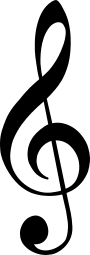 A treble clef, which marks that the note G is on the second line from the bottom of a 5 line music stave