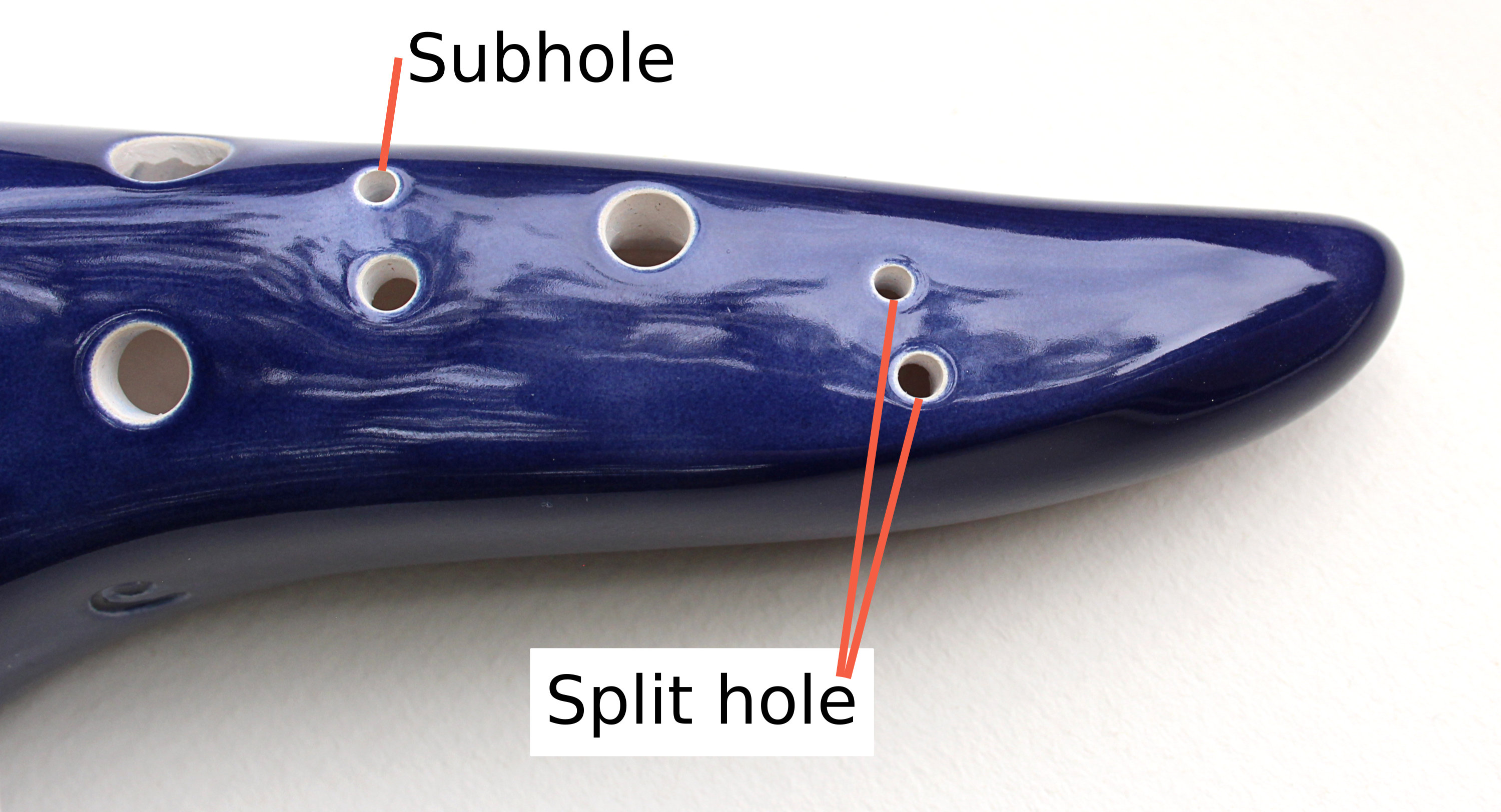 Ocarinas can have both subholes and split holes which look similar, but serve different functions. Subholes are holes that allow additional lower notes to be played, such as a B on an ocarina in C. Split holes are where a single hole has been split into two smaller holes to make an accidental like low C sharp easier to play. They are most often seen on 10 hole ocarinas